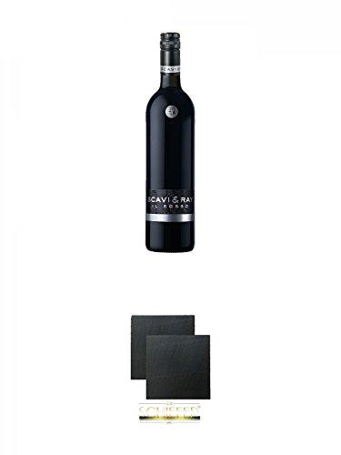 Scavi & Ray Il Rosso 0,75 Liter + Schiefer Glasuntersetzer eckig ca. 9,5 cm Ø 2 Stück