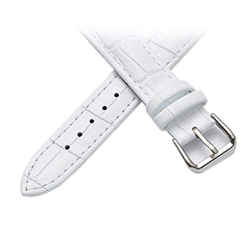 Insense Leather Watch Band Replacement, Breathable Genuine Leather Watch Strap with Stainless Steel Silver Pin Buckle for Men and Women (White-20mm) Replacement (Stainless Steel Watch Band, White)