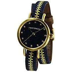 Tokyobay T233-NV Frauen Edelstahl Obi Wrap Navy Gold Nylon Band Nevy Dial Watch