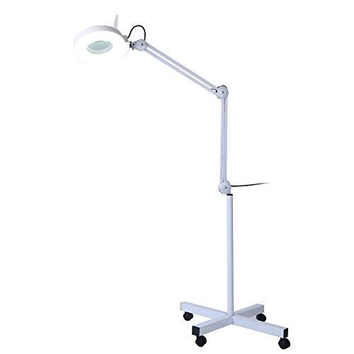 Lampe Lupe LED, Lampe Lupe im Boden Ästhetik mit Beleuchtung 8Dioptrien Vergrößerung Arm verstellbar drehbar Lampe Wolf auf Fuß für Ästhetik Tattoo salon Spa Lesung Reparatur Arbeit -