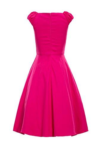 ILover Frauen elegante Vintage-Kleid 1940 mit Flügelärmeln Plisseekleid Rose
