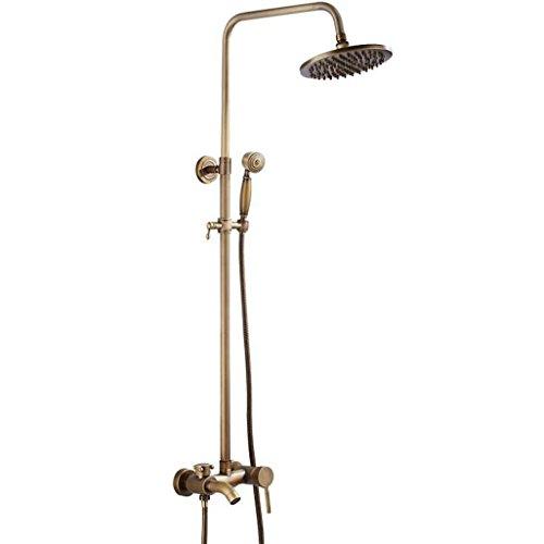 XYQ - Badezimmer antike Dusche Messing Set Wasserhahn Dusche Regenbrause System Handbrause und verstellbare Rutsche Bar Wasserfall Dusche Messing Finish -