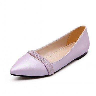 Shoeshaoge Femmes Chaussures Synthétique Similicuir Pu Printemps Eté Automne Hiver Confort Nouveauté Appartements Chaussures Talon Plat Pointu Pour Violet Strass
