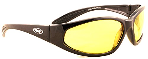 Unbreakable Low Light / Winter Motorcycle Sunglasses/Biker Wraparound Glasses and Free Microfibre Pouch