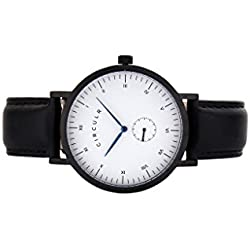 CIRCULR Black Unisex Quartz Watch Chronograph Display with Black Leather Strap