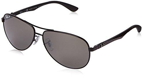 Ray Ban Unisex Sonnenbrille, RB8313 002/K7 61, Gr: 61, Schwarz (Gestell: schwarz Glas: polarisiert grau verspiegelt 002/K7)