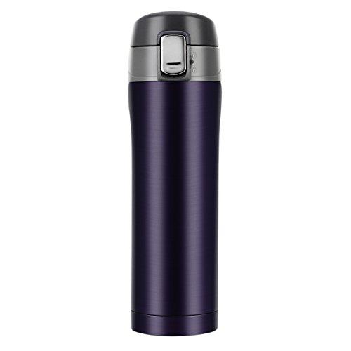 Thermobecher aus Edelstahl, BYTAN Isolierbecher Auslaufsicher Kaffebecher Reisebecher BPA frei Einhand-Verschluss 500ml für Bahnfahrt, Autofahrt, im Flugzeug usw.