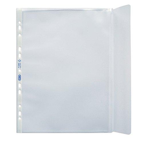 ELBA 100460999 Prospekthülle mit erweiterbarem Fassungsvermögen für DIN A4 0,09 mm rechts offen mit Klappe genarbt blendfrei Universallochung PP-Kunststoff Klarsichtfolie Plastikhülle Klarsichthülle ideal für Ordner Ringbücher und Hefter (Kunststoff-klappe)