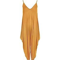 WearAll - Femmes Lagenlook Lacets Bouffant Harem Combinaison Robe Haut Salopette Cami - Moutarde - Une Taille