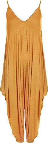 Harem Jumpsuit (WearAll - Lagenlook Strappy Ausgebeult Harem Jumpsuit Kleid Top Playsuit Cami - Senf - Eine Größe)