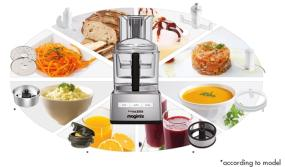 Magimix Food Processor 5200XL Satin surrounded by a variety of prepared foods