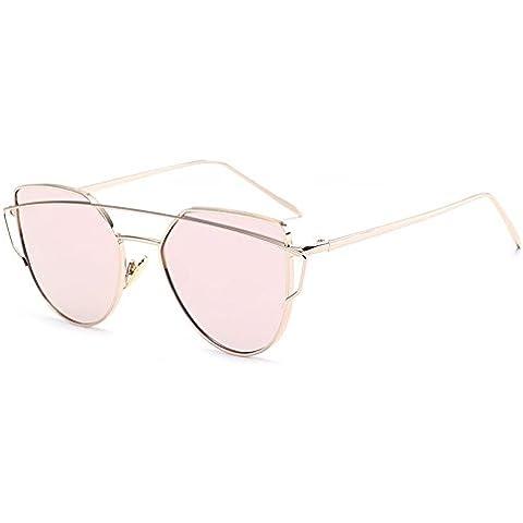 Highdas Donna del metallo di modo annata cornice dello specchio degli occhiali da sole unico piano degli occhiali da sole UV400