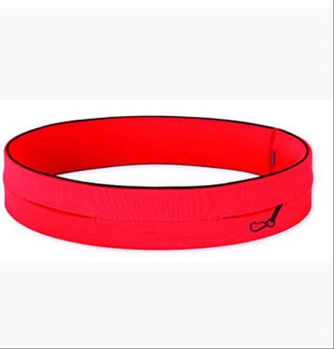 fhdc Marsupi Cintura Sportiva Da Uomo E Donna Multi-Funzionale Tasche Da Corsa Elasticizzate L Rosso