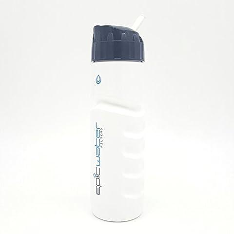 Epic Sports Series Filtration Bouteille (avec 1avancée Microbiologique filtre à eau), supprime les plomb, fluorure, chlore, l'Arsenic, Chrome 6, Tthm, bactéries, Virus, Giardia et plus (800ml), blanc