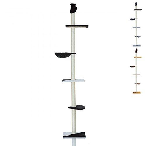 LCP XXL Katzen Kratzbaum Kletterbaum deckenhoch groß | 240-270 cm Höhe | 8 cm Dicke Sisal Säulen; Schwarz -