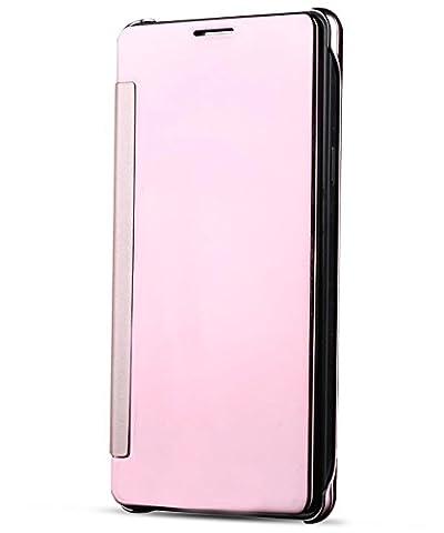 Coque Galaxy J7 Prime,Grandcaser Samsung On7 2016 Miroir Case Coque Housse Flip Cover,Etui Mince Clear Housse de Protection pour Samsung Galaxy On7 (2016) / J7 Prime - Rose Or