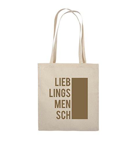 Comedy Bags - LIEBLINGSMENSCH - BLOCK - Jutebeutel - lange Henkel - 38x42cm - Farbe: Schwarz / Pink Natural / Hellbraun