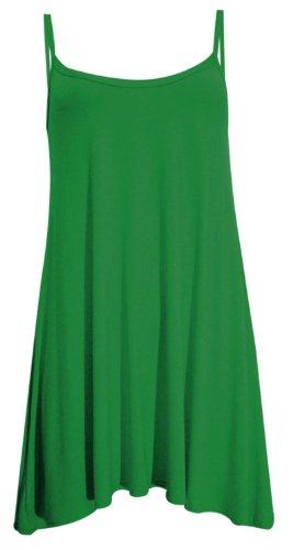 Neue Frauen Plus Size Cami Riemchen Sleevless Lang Swing-Top-Minikleid 36-50 Jade Green
