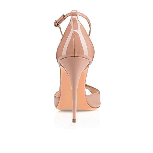 EDEFS Damen Sandalen High Heels 10cm Stiletto mit Riemchen T-Spangen Peep Toe Sommer Schuhe Beige