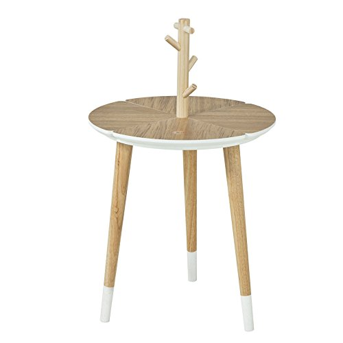 SoBuy® Table café Design avec Support à Tasses Table d'appoint Ronde - 3 Pieds - FBT38-WN