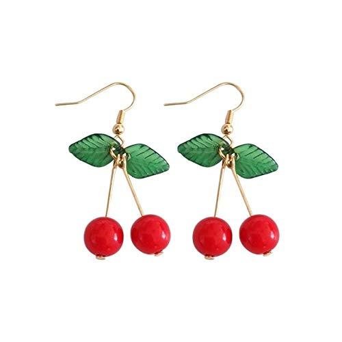 Ohrring Silber Damenfrucht Ohrringe Multicolor Sweet Cherry Acryl Blätter Eardrop Fashion Woman Ohrringe Fine Jewelry Zubehör OhrringeE - Cherry Wand