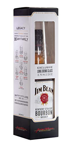Jim Beam White Label Kentucky Straight Bourbon Whiskey 70 cl With Glass Gift Pack