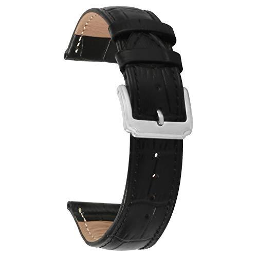 Uhrenarmband 24mm Schwarz Echtes Leder Ersatz Uhr Armband Männer Frauen
