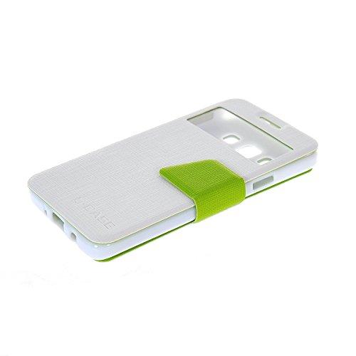 MOONCASE Coque en Cuir Portefeuille Housse de Protection Étui à rabat Case pour Apple iPhone 5 5S Noir Blanc