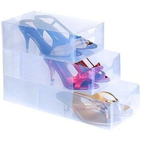 Set 10pz contenitore organizzatore scarpe trasparent box organizza scatola scarpe colore trasparente