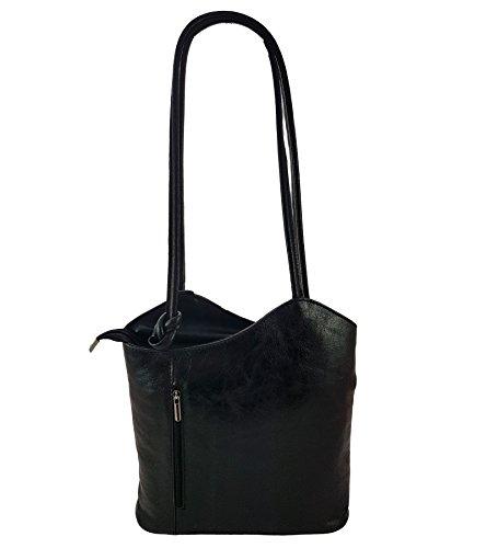 Freyday 2 in 1 Handtasche Rucksack Designer Luxus Henkeltasche aus Echtleder in versch. Designs (Schwarz Metallic) - Schwarz Metallic Tasche Handtasche