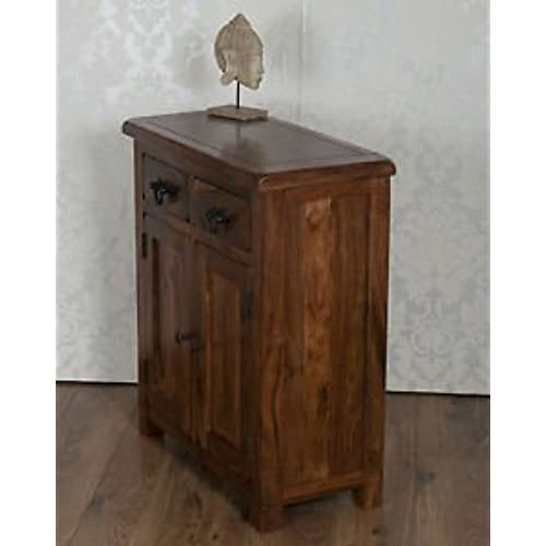 Classically Modern Valencia Solid Sheesham Rosewood Slim 2 Door Drawer  Sideboard Cabinet Cupboard