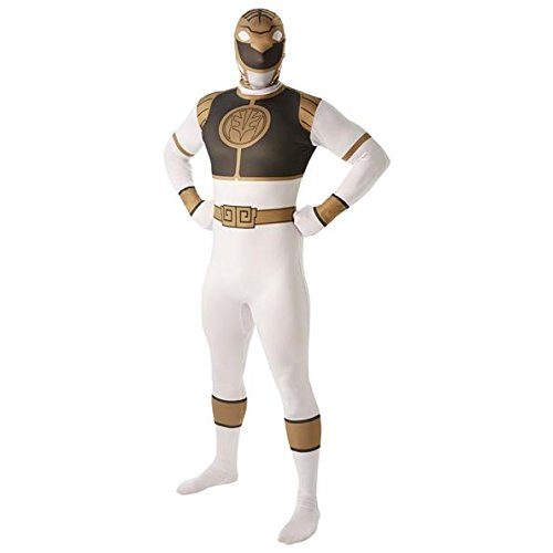 weiß Power Ranger Herren Fancy Kleid Mighty Leinwanddruck 2 nd Skin Suit Erwachsene Kostüm (Power Ranger Halloween)