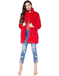best cheap b3a14 a9a67 Amazon.it: pelliccia ecologica - Rosso / Donna: Abbigliamento