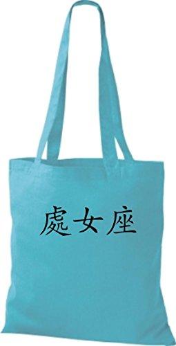 ShirtInStyle Stoffbeutel Chinesische Schriftzeichen Jungfrau Baumwolltasche Beutel, diverse Farbe sky blue