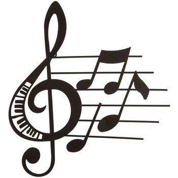 Tante Chris, die Produkte-Musik Metall Wand Dekor-Matt Schwarz Farbe-Innen- oder Outdoor-Violinschlüssel und Noten mit Klavier Schlüssel Aussparungen und Little Musik Noten (Note Kleiderbügel)