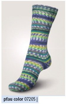 100 g Sockenwolle Regia Super Jacquard Color, 4-fädig, NEU (07205 pfau color)