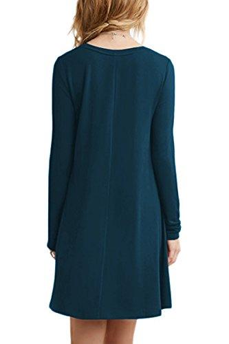 Minetom Donna Vestito Casuale Sciolto Tunica T-shirt Abitos Manica Lunga Rotondo Collo Beach Vestiti A-Line Stile Mini Dress A Blu scuro