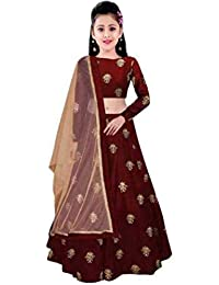 Friends deal fashion Taffeta Satin Silk Semi-stiched 12-13years,13-14 year,14-15year,15-16year,16-17year Girls lehenga Choli (All Over_ Free Size) (MAROON)