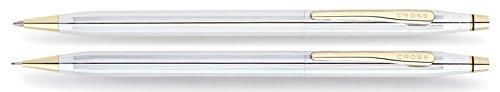 Cross Classic Century Medalist Kugelschreiber und Bleistift Set (Strichstäke M und 0,7 mm, nachfüllbar, inkl. Premium Geschenkbox) chrom goldplattiert - Usa Century Cross