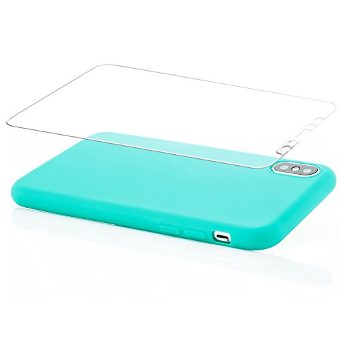 zanasta® iPhone X Hülle Case + 3D Panzerglas Silikon Soft Flex Schutzhülle Ultra-Slim Handyhülle Cover Matt Rosa Türkis