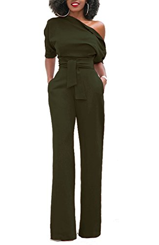 KISSMODA Damen Kurzarm One-Shoulder Basic Overall Hose Strampler Dunkelgrün - Party-hosen