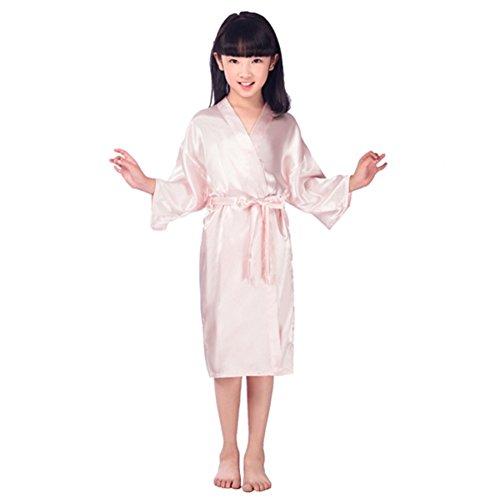 Mädchen lange Kimono Robe Silk Satin Nachtwäsche Bademantel Nacht Kleid für 3-14 Jahre alte Prinzessin (Kleinkind Satin Pyjama)