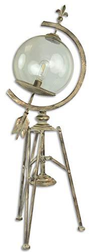 Casa Padrino Jugendstil Stehleuchte Antik Cremefarben/Gold 34 x 24,7 x H. 95,8 cm - Dreibein Stehlampe im Sonnenuhr Design -