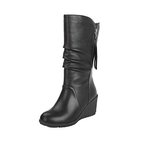 Stiefel Damen Schuhe Sonnena Halbschaft Stiefel Blockabsatz Boots Frauen Herbst Winter warme High Heels Martin Schuhe Knöchel Stiefel Zipper Kunstleder Schuhe Starke Absatzplattform (37, Sexy Schwarz)