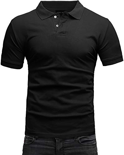 Crone Paul Herren Polo Shirt Pique Slim Fit Kurzarm Polohemd (M, Schwarz) -