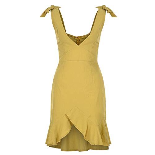 B-commerce Women Casual Sexy Dress - 2019 Damen Solid Short Mini Dress Ruffles Backless Sleeveless Above Knee Loose Hem Ladies Beach Party Mini ()