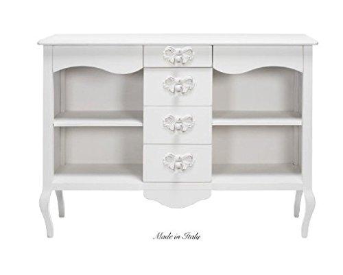 Consolle con cassettiera in legno con pomelli a forma di fiocco stile vintage disponibile in diverse rifiniture L'ARTE DI NACCHI 4972/BG