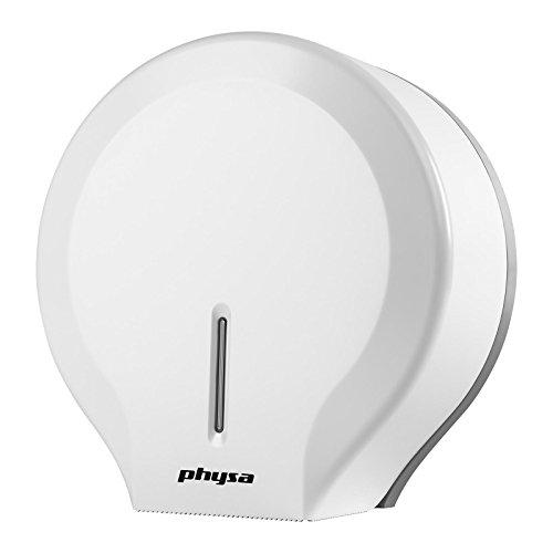Physa FOGGIA WHITE Dispensador de papel higiénico blanco (de plástico ABS, para rollos extra grandes, con cerradura)