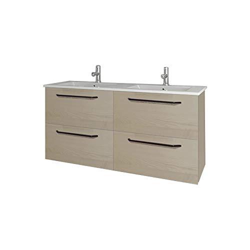 Mobile bagno larghezza 120 cm in stile moderno sospeso dakota   melamina effetto legno di frassino jackson     maniglia cromata   120 x 64 x 46 cm mobili + lavabo in ceramica   4 cassetti