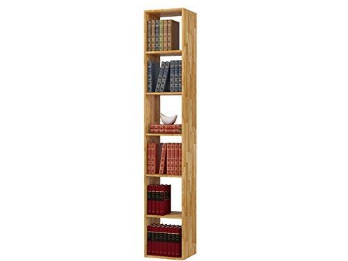 Regal, Bücherregal, Hoch Bücherregale, hohes Bücherregale, Lowboard, Wohnwand, Wandregal-Set, Bibliothek COMFORT mit offenen Fächer, Eiche massiv, geölt (288×209) - 3